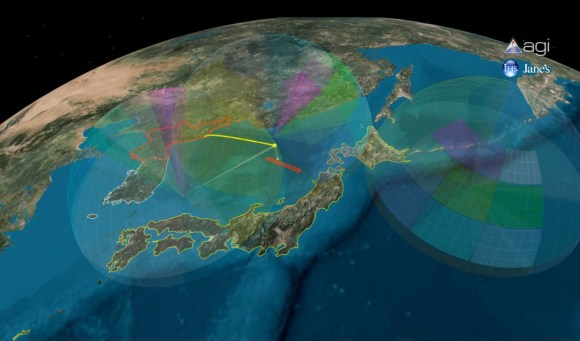The possible path of the N. Korean launch, passing over Japan. First stage will drop into the Sea of Japan (AGI)