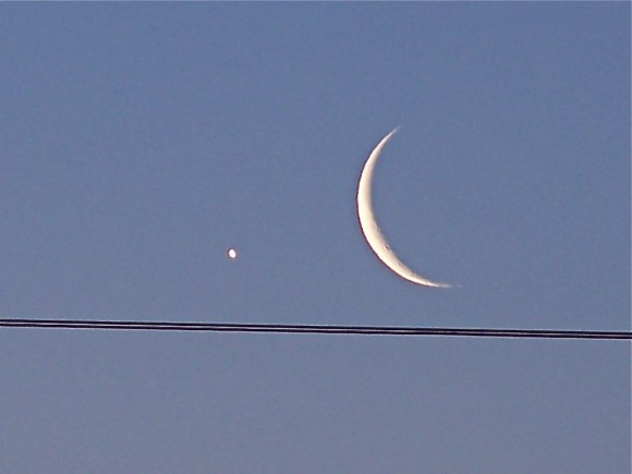 The Moon and Venus (and power lines). Credit:  Bob Bowhay