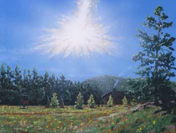 Artist impression of the Tunguska event.