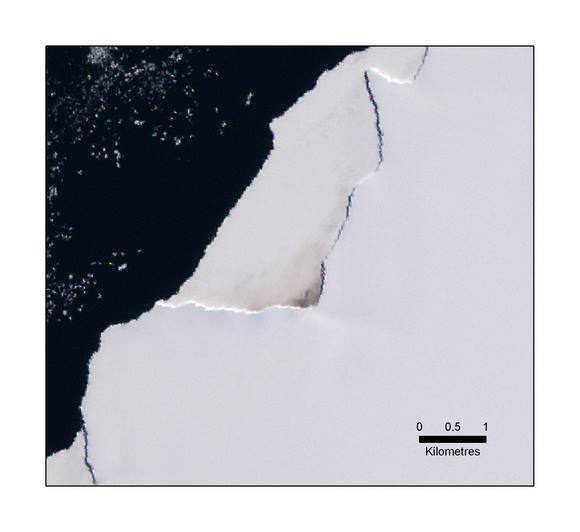 Stains on the ice visible on this satellite image. Credit: British Antarctic Survey
