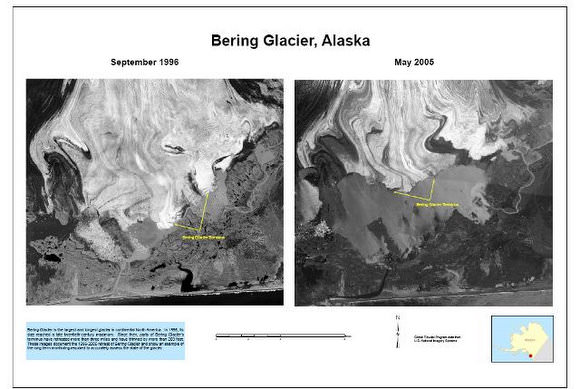 Ice loss at the Bering Glacier. Credit: USGS