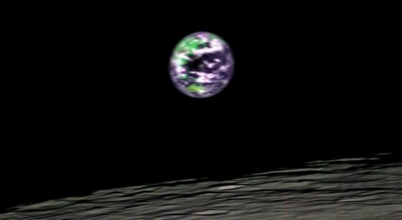 This false-color image of Earth was taken from 200 kilometers (124 miles) above the lunar surface was taken by the Moon Mineralogy Mapper, one of two NASA instruments onboard the Indian Space Research Organization's Chandrayaan-1 spacecraft.  Credit: NASA/JPL/Brown