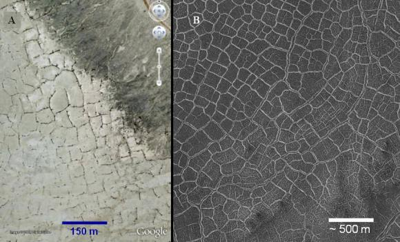 Desiccation patterns on Earth (left) and Mars (right). Credit: Google/NASA/JPL