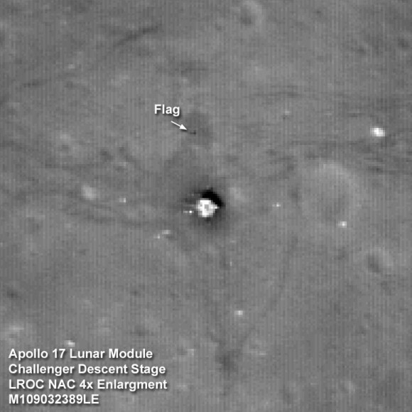 The Apollo 17 Lunar Module Challenger descent stage comes into focus from the new lower 50-km mapping orbit, image width is 102 meters [NASA/GSFC/Arizona State University].