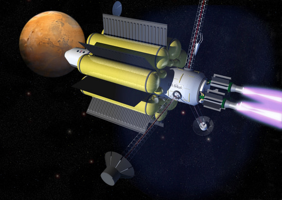 Artist rendering of the VASIMR powered spacecraft heading to Mars. Credit:  Ad Astra