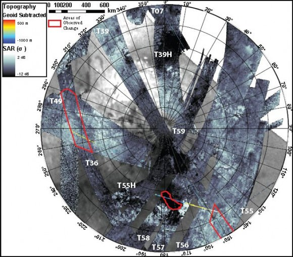Stereographic projection of Synthetic Aperture Radar (SAR) imagery of Titan's south polar region obtained between Sep. 2005 and July 2009. The Cassini radar has observed 60% of this area and 9% has repeat coverage. Areas where changes have been detected are outlined in red.  Credit: Alex Hayes and Jonathan Lunine
