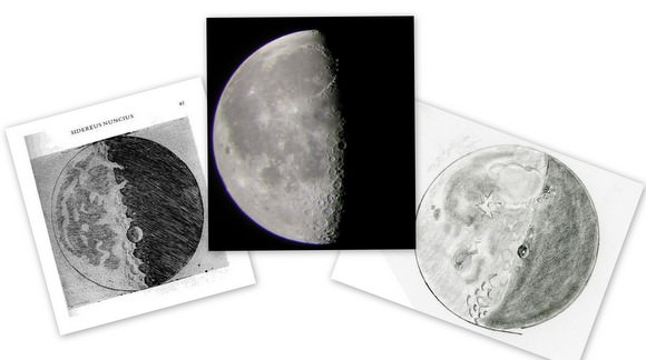 A collage of 21-day old Moons, sketched by Galileo, (left), an image from Jane Houston Jones' telescope, center, and Jane's sketch, right.