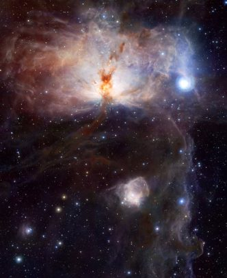 The Flame Nebula, as taken by the new VISTA visible and near-infrared camera. Click on the image for a zoomable hi-res image. Image Credit: ESO
