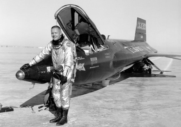 Armstrong, 30, and X-15 1 after a research flight in 1960. Credit: NASA