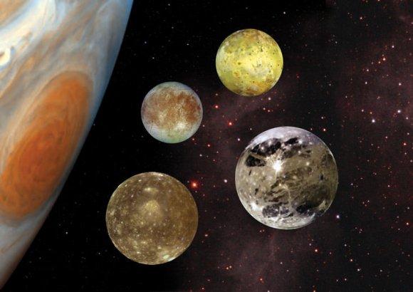 Illustration of Jupiter and the Galilean satellites. Credit: NASA