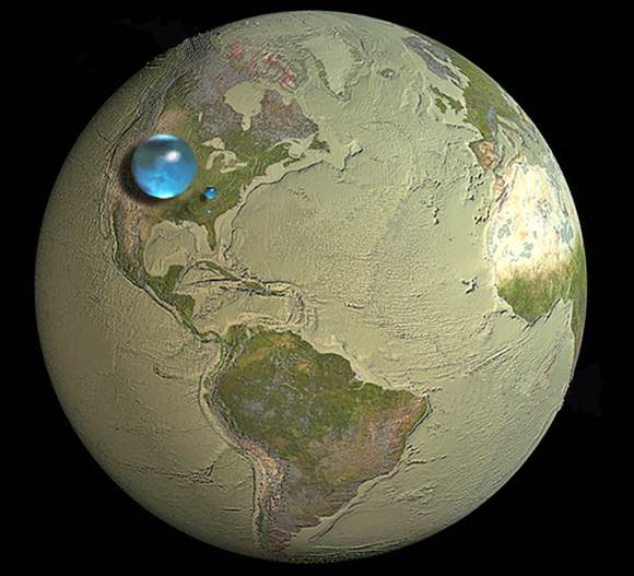 Illustration showing all of Earth's water, liquid fresh water, and water in lakes and rivers. Credit: Howard Perlman/USGS/Jack Cook/WHOI