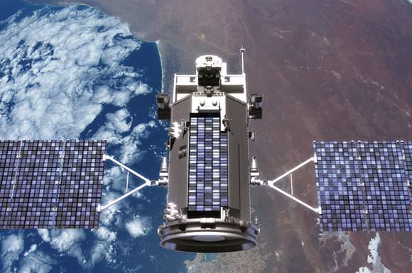 Artist concept of the Glory spacecraft in Earth orbit. Credit: NASA Goddard Space Flight Center
