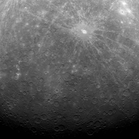 MESSENGER's first image from Mercury orbit, with the bright Debussy crater visible at upper right.  Credit: NASA/Johns Hopkins University Applied Physics Laboratory/Carnegie Institution of Washington