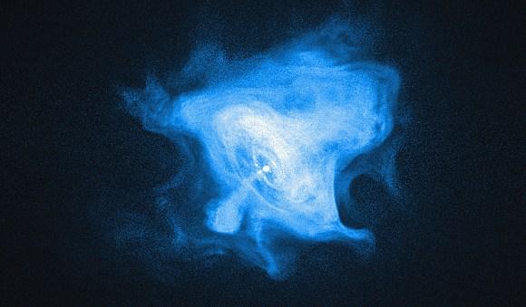 An X-ray image of the Crab Nebula and pulsar.   Image by the Chandra X-ray Observatory, NASA/CXC/SAO/F. Seward.