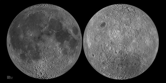 The two sides of the Moon. Image credit: LRO