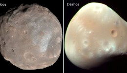 Phobos and Deimos, photographed here by the Mars Reconnaissance Orbiter, are tiny, irregularly-shaped moons that are probably strays from the main asteroid belt. Credit: NASA - See more at: http://astrobob.areavoices.com/2013/07/05/rovers-capture-loony-moons-and-blue-sunsets-on-mars/#sthash.eMDpTVPT.dpuf