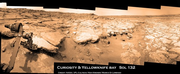 Curiosity touches Yellowknife Bay Sol 132 arm 1a_Ken Kremer