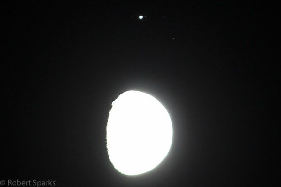 Jupiter and the Moon 1-21-13. The Moon is intentionally overexposed so you can see three moons. Ganymede on the left and Io and Callisto on the right (Europa was transiting at the time).  Credit and copyright: Robert Sparks.
