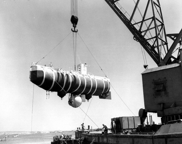 A view of the Bathyscaphe Trieste in 1959. (U.S. NHHC)