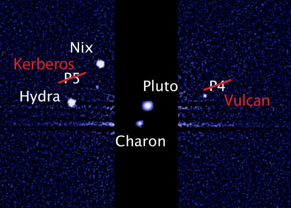 These may soon be the names of Pluto's family of moons (Hubble image: NASA, ESA and M. Showalter/SETI)