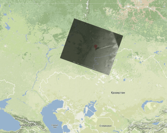 Meteosat-10 image of Meteoroid trail aligned border with Kazakhstan in Google Maps. Credit: Paul Attivissimo