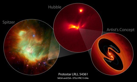 NASA's Spitzer and Hubble space telescopes have teamed up to uncover a mysterious infant star that behaves like a police strobe light. Credit: NASA, ESA, J. Muzerolle (STScI), E. Furlan (NOAO and Caltech), K. Flaherty (University of Arizona/Steward Observatory), Z. Balog (Max Planck Institute for Astronomy), and R. Gutermuth (University of Massachusetts, Amherst).