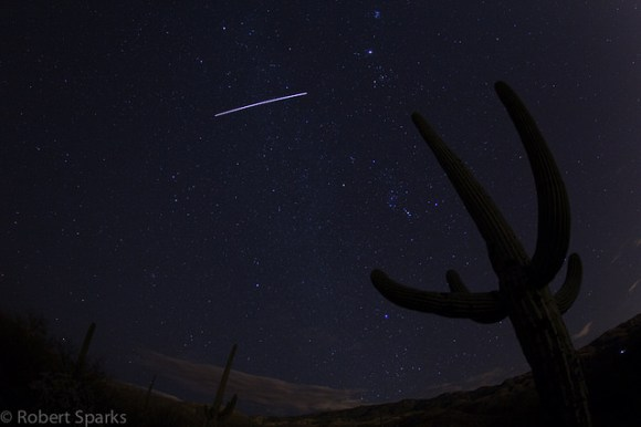 The International Space Station, as seen from Saguaro National Park East in Arizona. Credit: Robert Sparks.