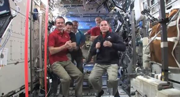 The change of command ceremony on the ISS. Via NASA TV.