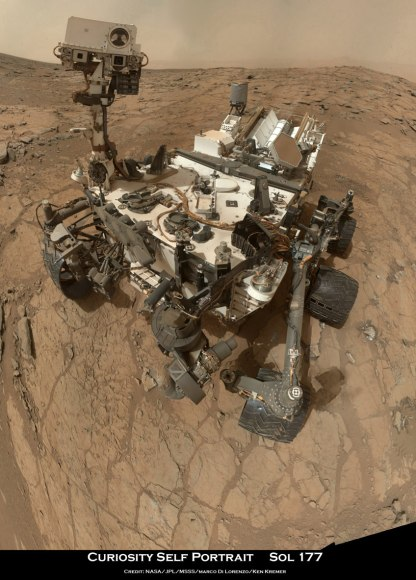 "Curiosity Rover snapped this self portrait mosaic with the MAHLI camera while sitting on flat sedimentary rocks at the ""John Klein"" outcrop where the robot conducted historic first sample drilling inside the Yellowknife Bay basin, on Feb. 8 (Sol 182) at lower left in front of rover. The photo mosaic was stitched from raw images snapped on Sol 177, or Feb 3, 2013, by the robotic arm camera - accounting for foreground camera distortion. Credit: NASA/JPL-Caltech/MSSS/Marco Di Lorenzo/KenKremer (kenkremer.com)"