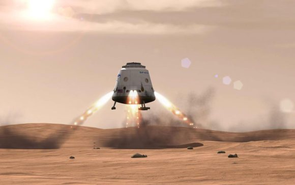 Future Dragon spacecraft will one day touch down propulsively on the ground with 'Alien looking' landing legs instead of an ocean splashdown.  Credit: SpaceX