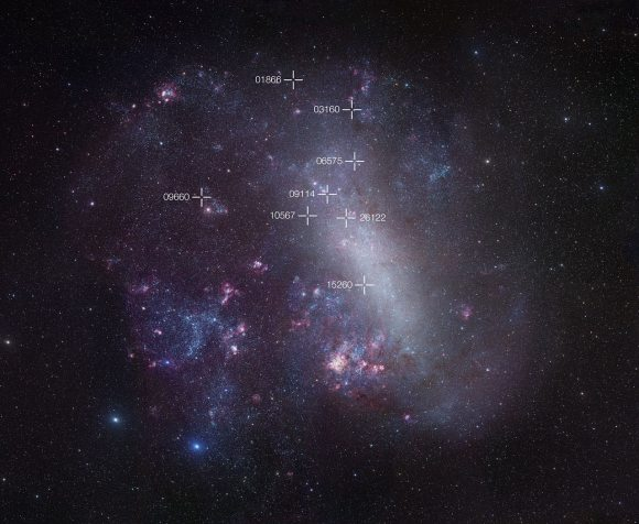 The Large Magellanic Cloud, a neighboring galaxy to the Milky Way. The positions of eight faint and rare cool eclipsing binary stars are marked with crosses. Credit: ESO/R. Gendler