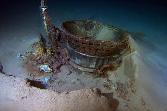 Apollo F-1 Thrust Chamber on ocean floor. Credit: Bezos Expeditions