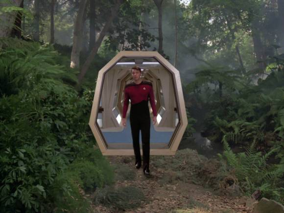 Star Trek first officer William Riker steps into a simulated jungle on the USS Enterprise-D's holodeck. Credit: Paramount Pictures/CBS Studios, via Memory alpha