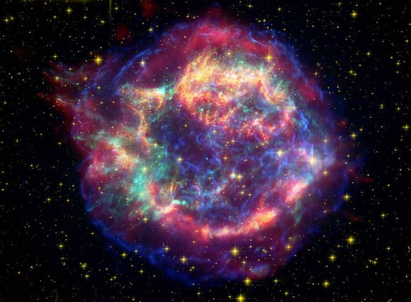 Composite Spitzer, Hubble, and Chandra image of supernova remnant Cassiopeia A (NASA/JPL-Caltech/STScI/CXC/SAO)