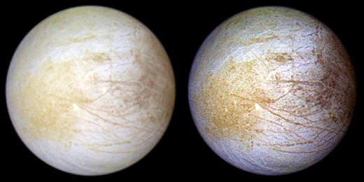 This color composite view combines violet, green, and infrared images of Europa acquired by Galileo in 1997 for a view of the moon in natural color (left) and in enhanced color (right). Credit: NASA/JPL/University of Arizona