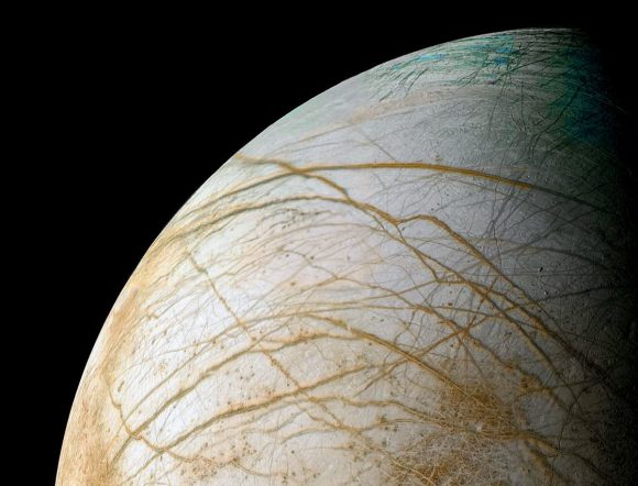 Reprocessed Galileo image of Europa's frozen surface by Ted Stryk (NASA/JPL/Ted Stryk)