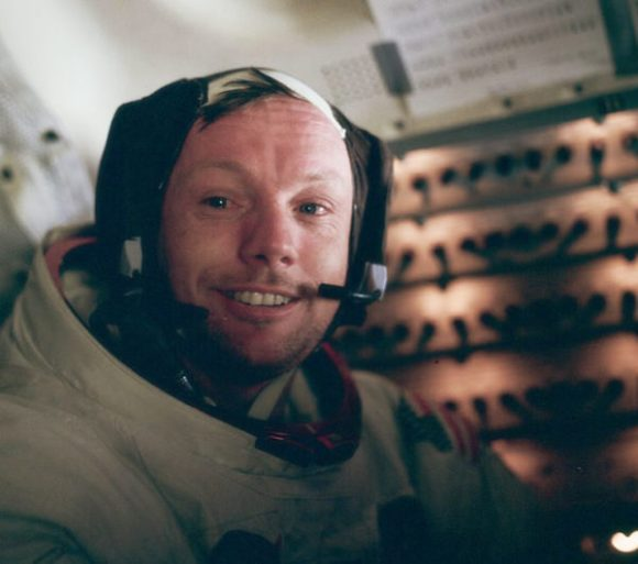 Neil Armstrong in the LM after his historic moonwalk (NASA)