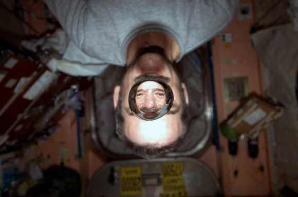 Just a sample of Chris Hadfield's creativity in sharing his space experience. 'Weightless water. This picture is fun no matter what direction you spin it,' he said via Twitter.