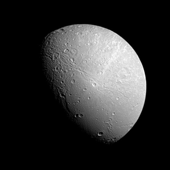 Saturn's moon Dione, as seen by the Cassini spacecraft.  Credit: NASA/JPL-Caltech/Space Science Institute