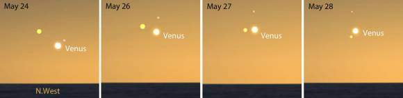 Three bright planets will highlight the northwestern sky this week and early next. Mercury is shown in pink and Jupiter in yellow. Stellarium