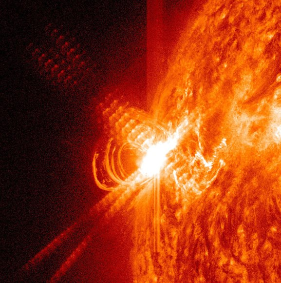 An X3.2-class flare observed by SDO's AIA instrument at 0114 UT on May 14 (NASA/SDO/AIA)