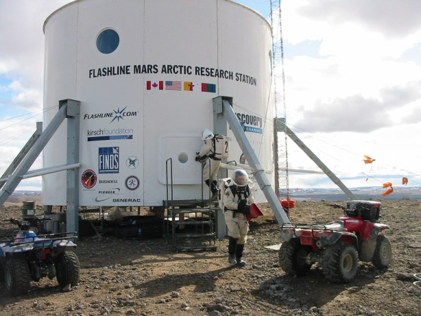Outside view of a structure at Flashline Mars Arctic Research Station. Credit: Mars Society