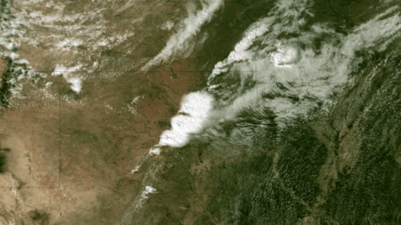 Satellite Image of Oklahoma Tornado. Acquired at 2:55 CT on May 20, 2013, this image from the NOAA GOES-13 satellite shows the storms developing directly over central Oklahoma. One minute later an incredibly destructive tornado touched down in Moore, OK. Credit: NOAA.