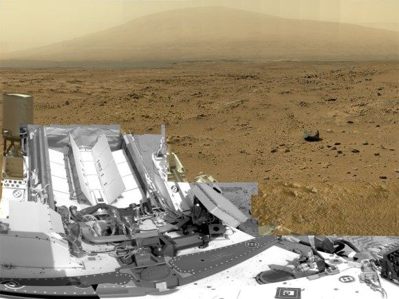 "This is a cropped, reduced version of panorama from NASA's Mars rover Curiosity with 1.3 billion pixels in the full-resolution version.  See full panorama below. It shows Curiosity at the ""Rocknest"" site where the rover scooped up samples of windblown dust and sand. Curiosity used three cameras to take the component images on several different days between Oct. 5 and Nov. 16, 2012. Viewers can explore this image with pan and zoom controls at http://mars.nasa.gov/bp1/. Credit: NASA/JPL-Caltech/MSSS"