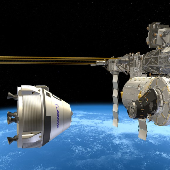 Boeing CST-100 crew vehicle docks at the ISS. Credit: Boeing