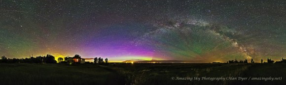 A 360° horizon panorama taken from southern Alberta on June 5, 2013, showing the Milky Way, a low aurora to the north, perpetual twilight glow to the north (left of centre) and bands of green airglow across the sky, and the ATV-4 Albert Einstein heading to the International Space Station. Credit and copyright: Alan Dyer.