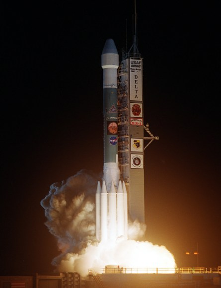 Launch of NASA's 2nd Mars Exploration Rover, Opportunity, aboard a Delta II Heavy rocket to Mars on July 7, 2003 at 11:18 p.m. EDT from Pad 17-B at Cape Canaveral Air Force Station, Fla.  Credit: NASA
