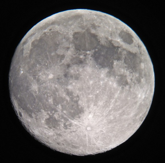 "A handheld shot of the Moon on Sunday evening through a 12"" Dobsonian telescope. (Credit Sarah Fisher/@larlar71 in the UK)."