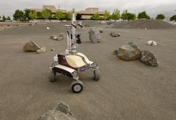 The K10 Black planetary rover during a Surface Telerobotics Operational Readiness Test at NASA's Ames Research Center. Credit: NASA/Dominic Hart