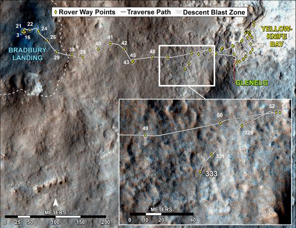 Curiosity's Traverse Map Through Sol 333 -
